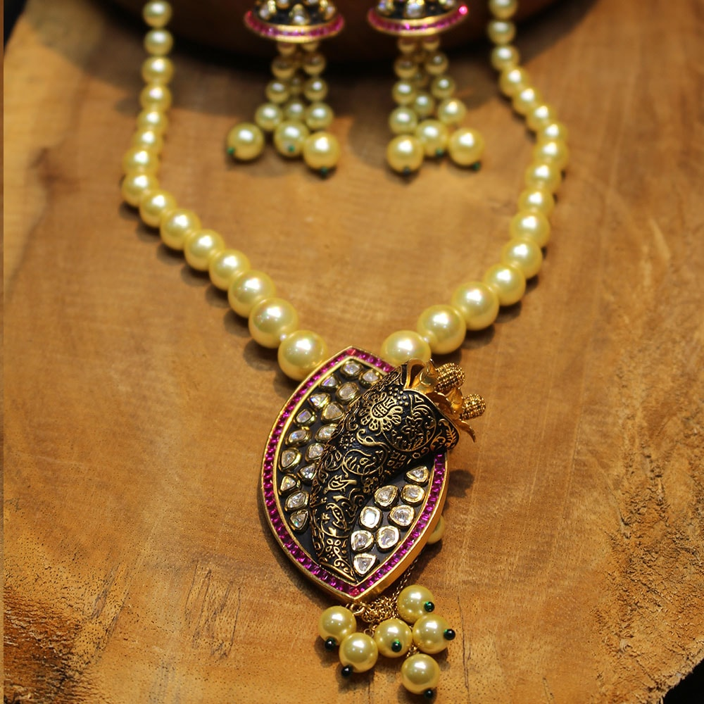 Minakari Kundan Pendant set with Real Pearls and Rubies