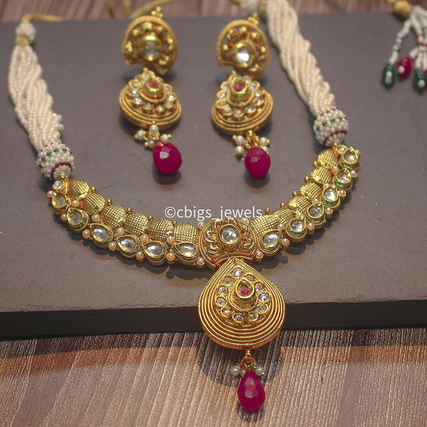 Antique Kundan stone Pearl necklace set