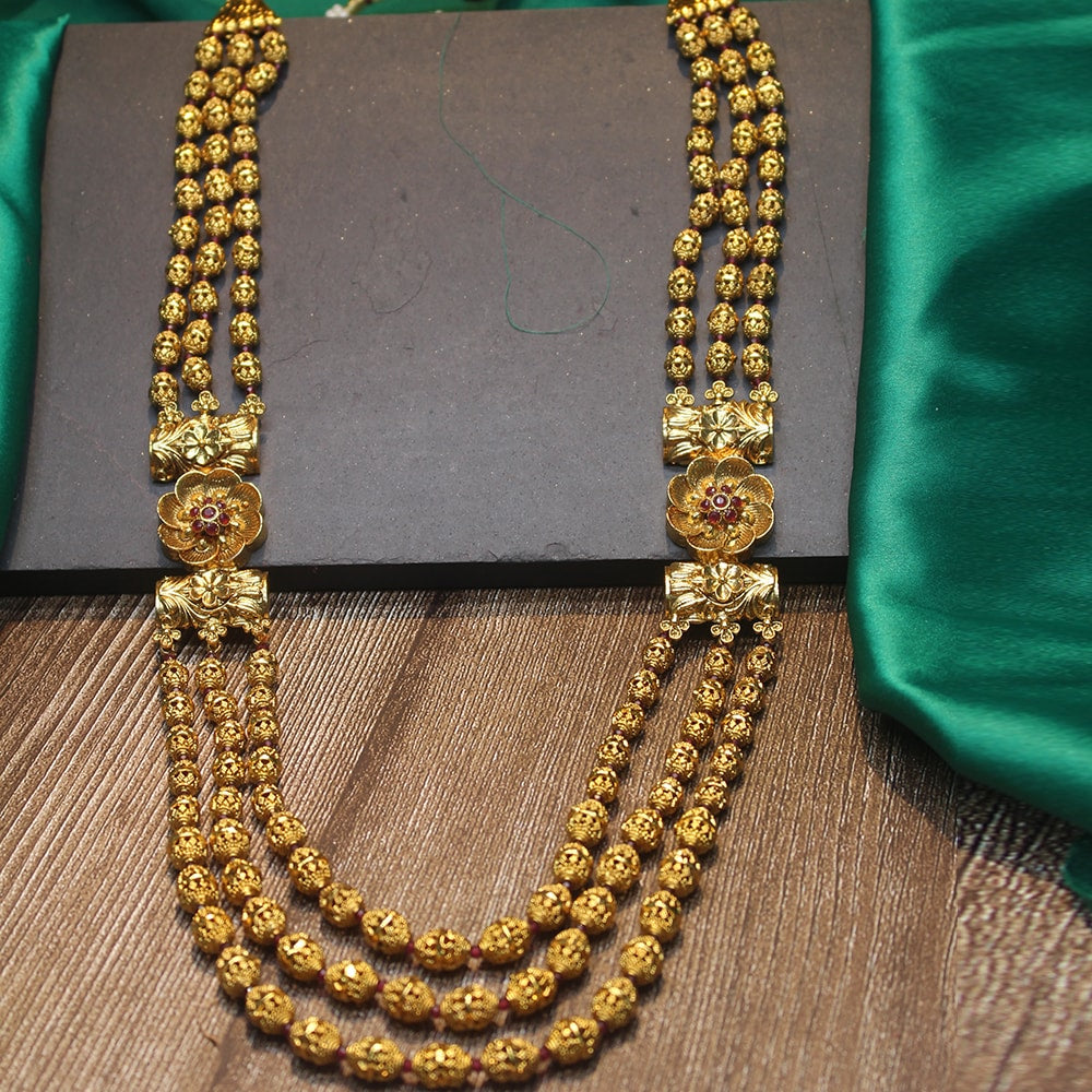 3 Line Layered Antique Gold Ball Necklace