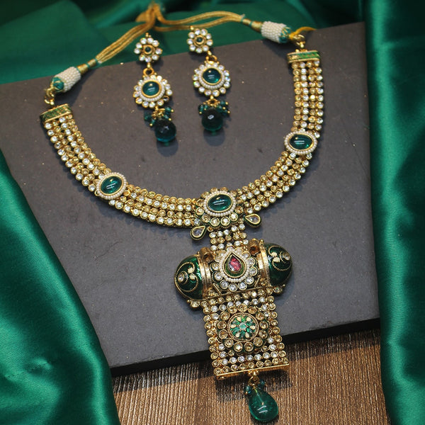 Green Enamel Necklace with Kundan Stones