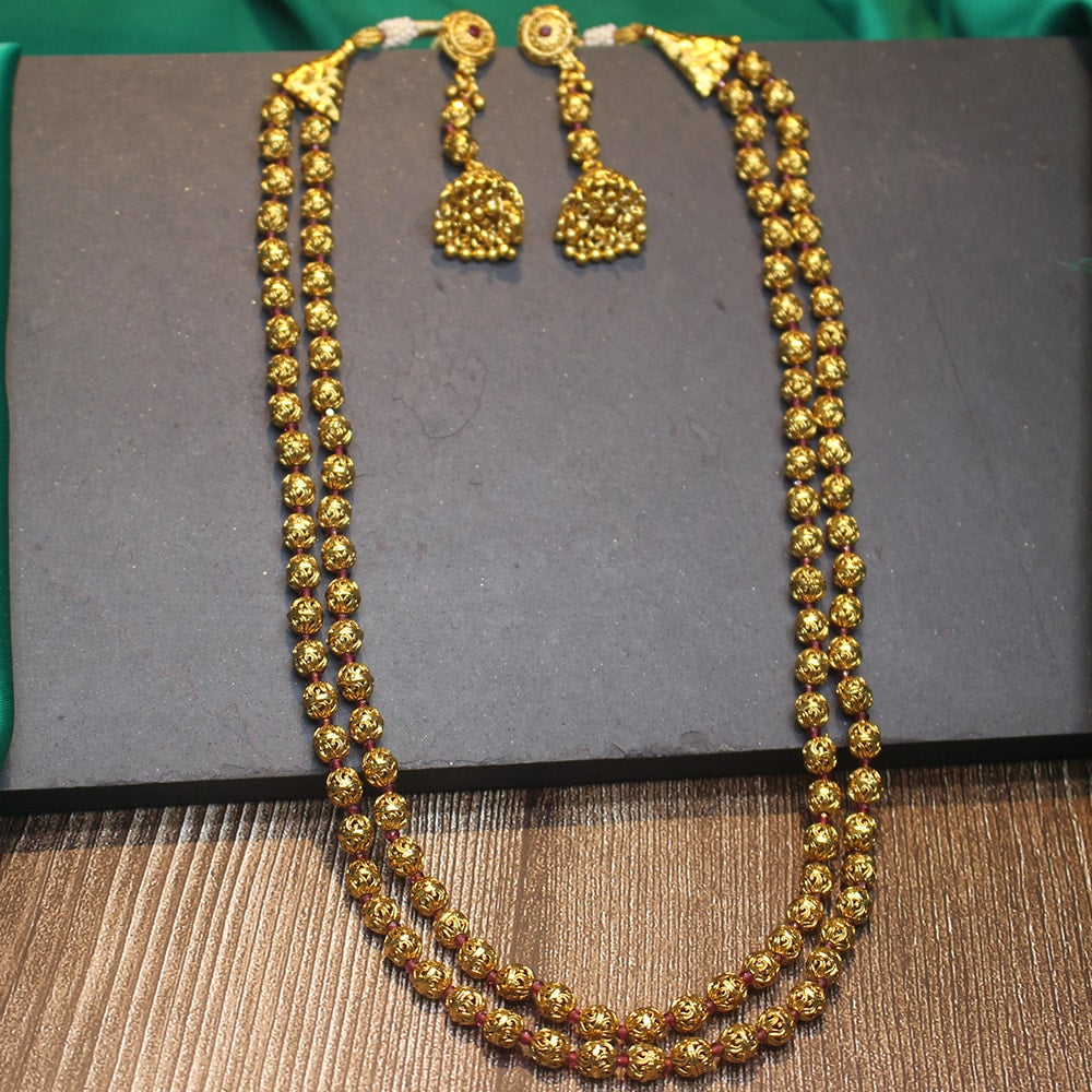 2 Line Layered Antique Gold Ball Necklace