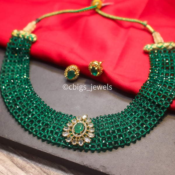 Antique Green Crystal Choker