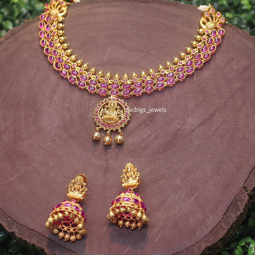 Antique Gold necklace with elegant Laksmi pendant