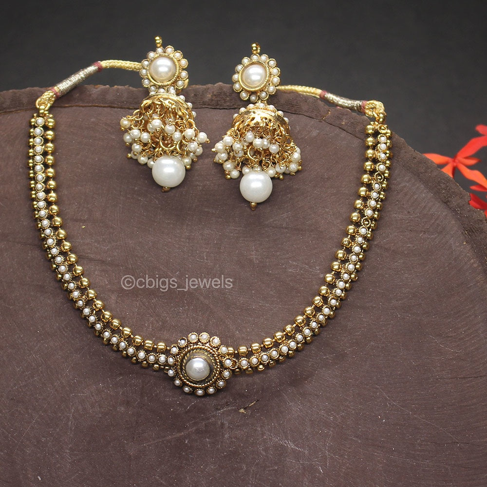 Antique Finish Pearl Necklace
