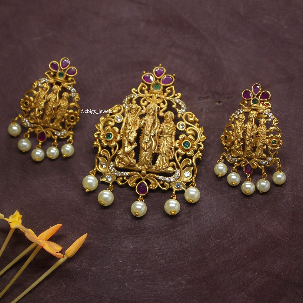 Ram Leela Antique Finish Pendant Set
