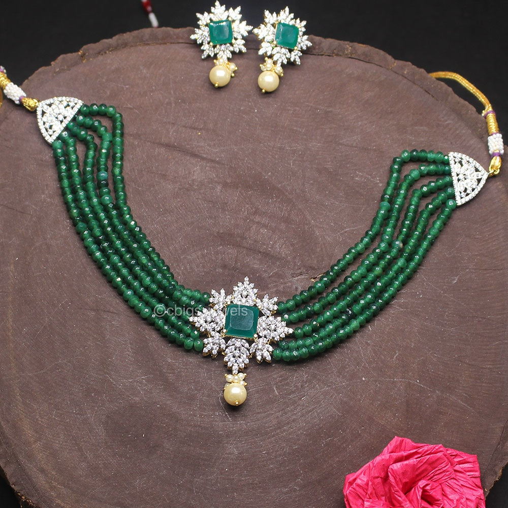Semi Precious Emerald Beads Necklace with Zircon Pendant