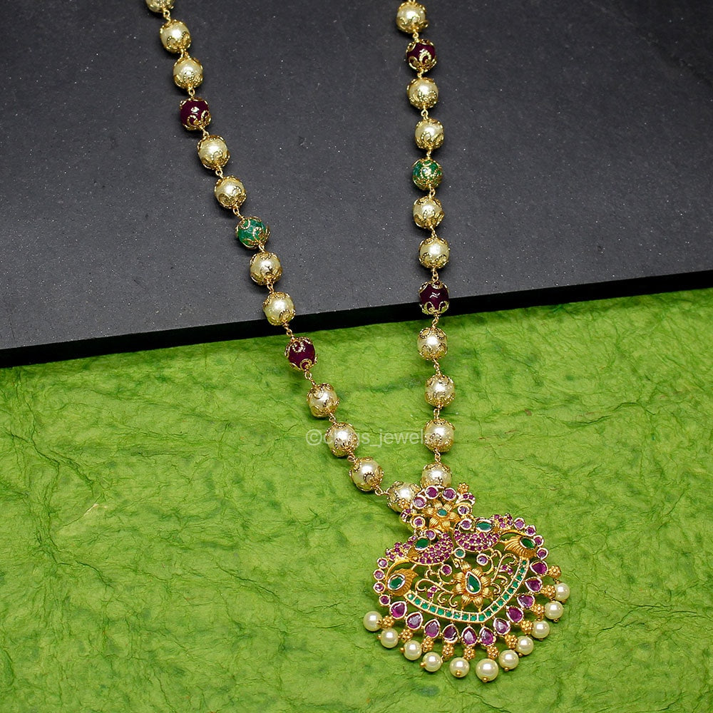 1 gm Gold Polish Pendant Set with Pearls