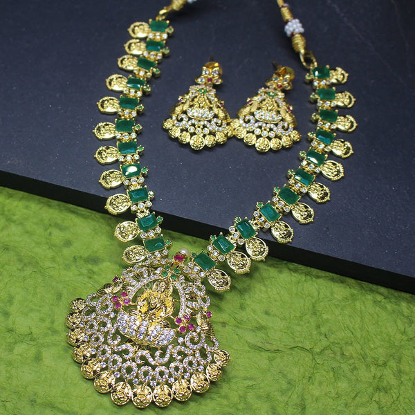 1 gm Gold Polish Necklace with Emerald and Zircon Stones