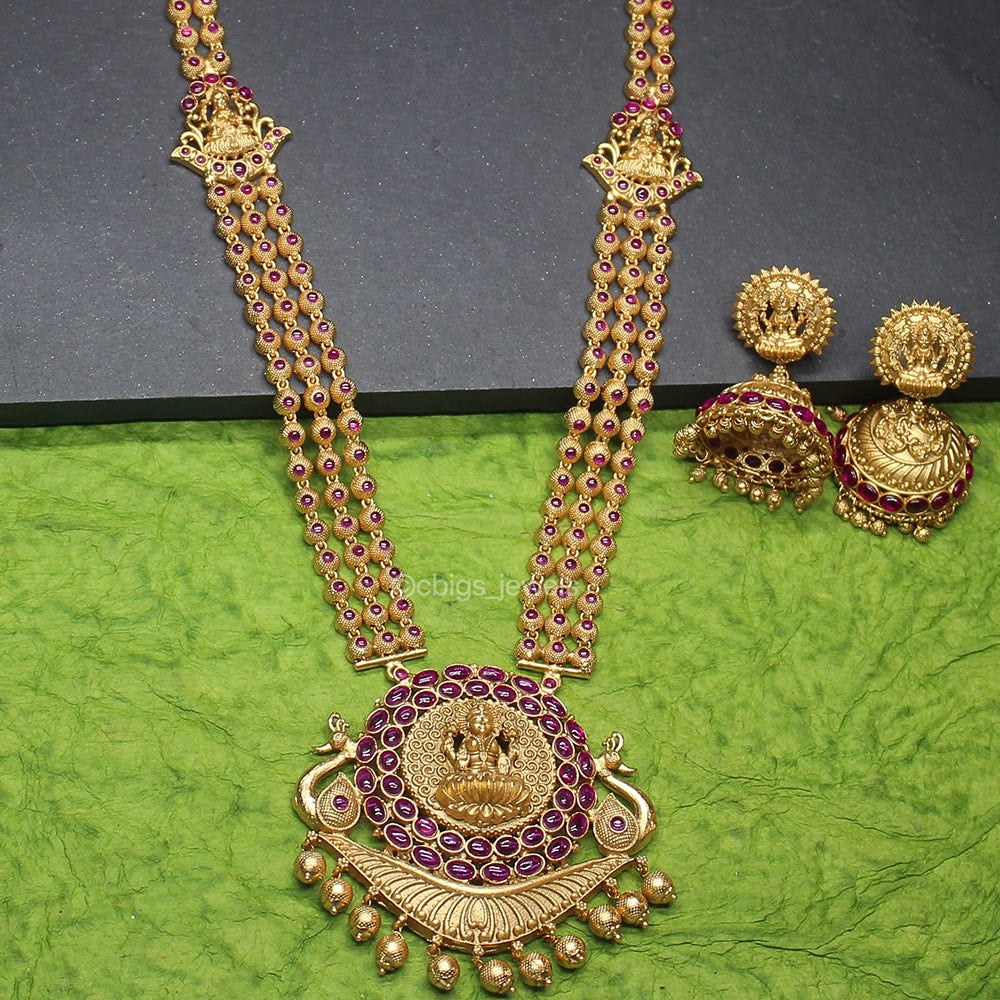 Beautiful Ruby Studded Necklace with Goddess Lakshmi Pendant