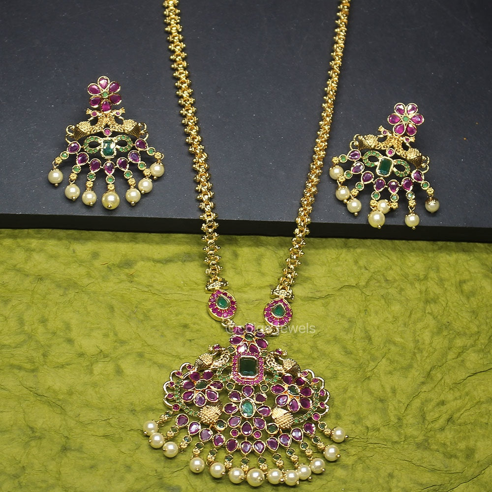 1 gm Gold Plated Necklace with Semi-Precious Ruby and Emerald Stones