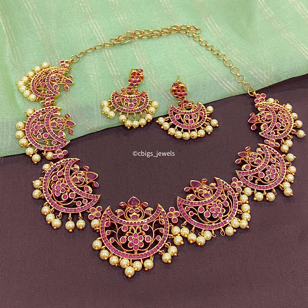 Antique Paisley Necklace with Ruby Stones