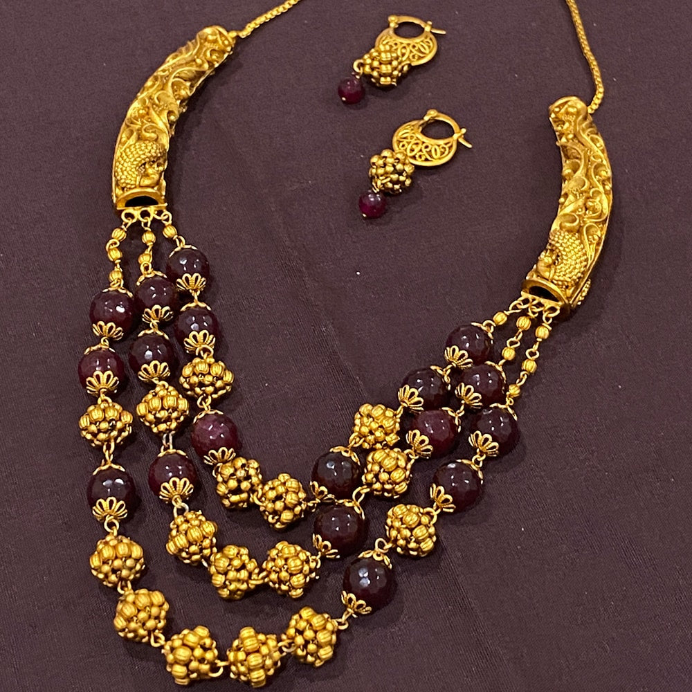 Antique 3 Line Garnet Necklace