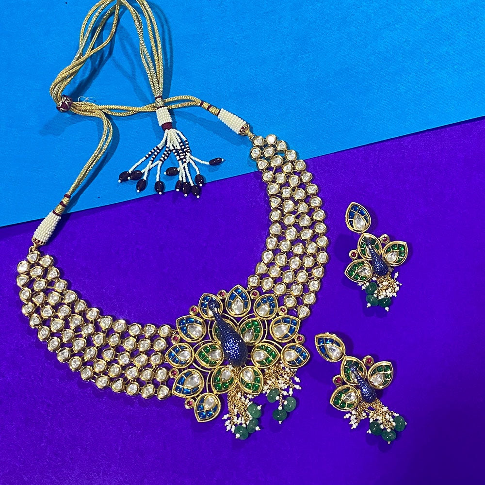 Exquisite Jadau Kundan Minakari Necklace with Peacock Motif