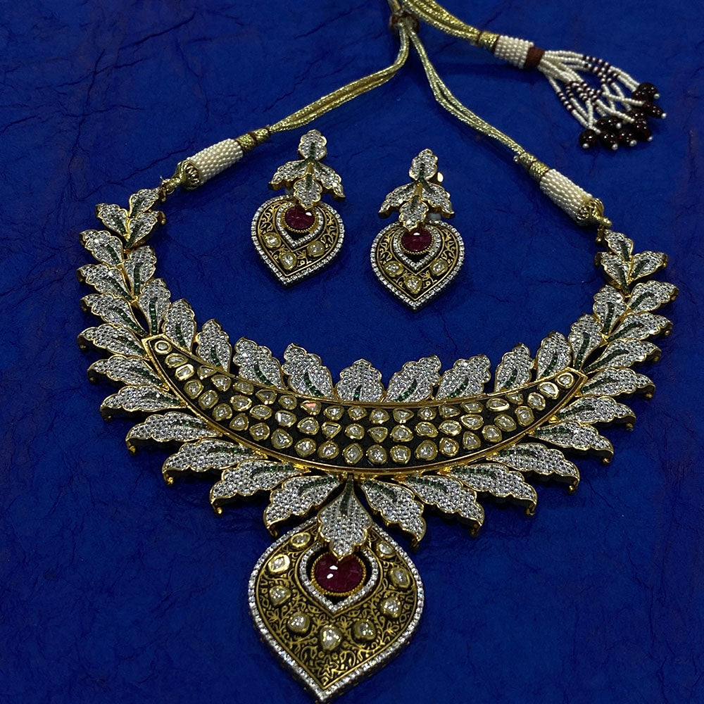 Designer Kundan Necklace with Ruby and Zircon Stones