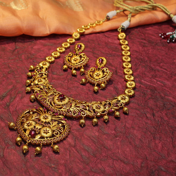 Bridal Haram with Semi-Precious Ruby Stones