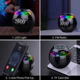 2021 Color Ball Bluetooth 5.0 Wireless 5W Speakers With Alarm Clock Fm Radio Color Led Display