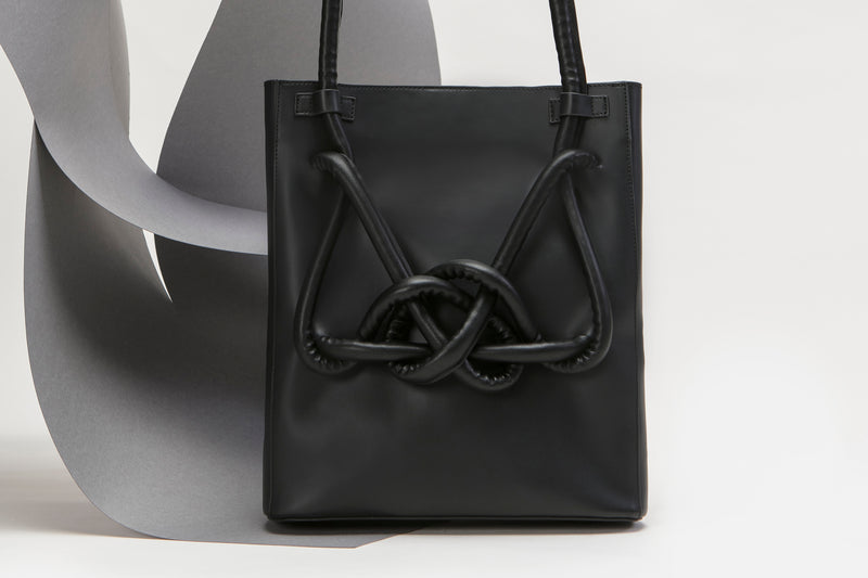 ZOEE 2 ways chunky knot leather bag - Charcoal Black