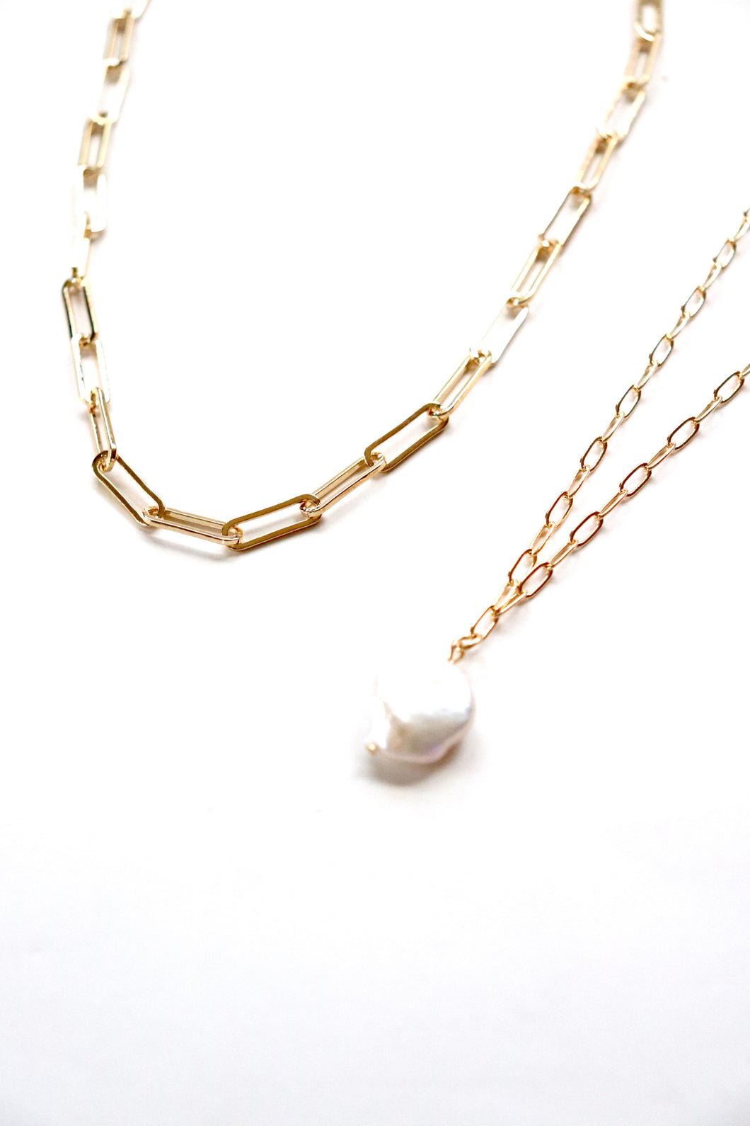 Pearl and Gold Chain Layered Set