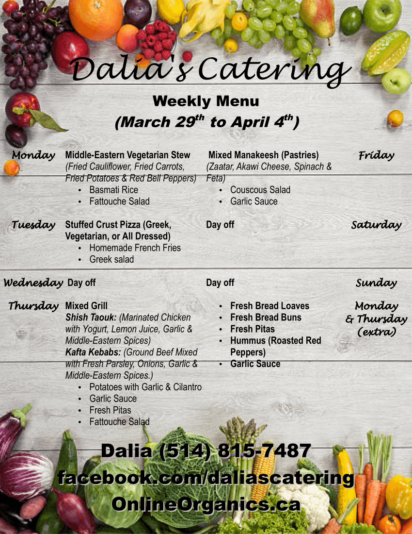 Dalia's Catering Weekly Menu (English)