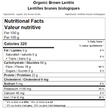 Organic Brown Lentils Nutritional Facts