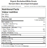 Organic Buckwheat White Groats Nutritional Facts