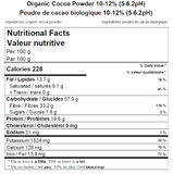 Organic Cocoa Powder 10-12% (5-6.2pH) Nutritional Facts