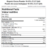 Organic Cocoa Powder 10-12% (7.2-7.7pH) Nutritional Facts