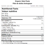 Organic Date Paste Nutritional Facts