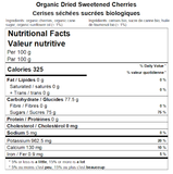 Organic Dried Cherries Nutritional Facts