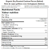 Organic Dry Roasted Cashew Pieces Nutritional Facts