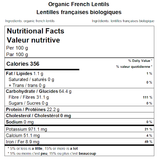 Organic French Lentils Nutritional Facts