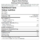 Organic Heinz Ketchup Nutritional Facts