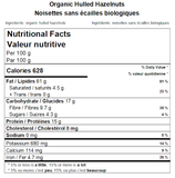 Organic Hulled Hazelnuts Nutritional Facts