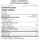 Organic Large Wild Rice Nutritional Facts