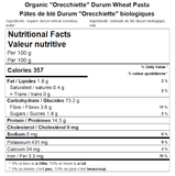 Organic ''Orecchiette'' Durum Wheat Pasta Nutritional Facts