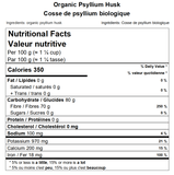 Organic Psyllium Husk Nutritional Facts