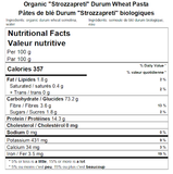 Organic ''Strozzapreti'' Durum Wheat Pasta Nutritional Facts