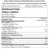 Organic White Sifted Wheat Flour for Bread #100 Nutritional Facts