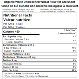 Organic White Wheat Flour for Croissant Nutritional Facts