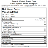 Organic Whole 6 Grains Flour Nutritional Facts
