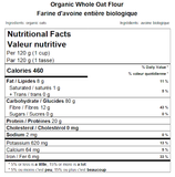 Organic Whole Oat Flour Nutritional Facts
