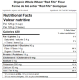 Organic Whole Wheat ''Red Fife'' Flour Nutritional Facts