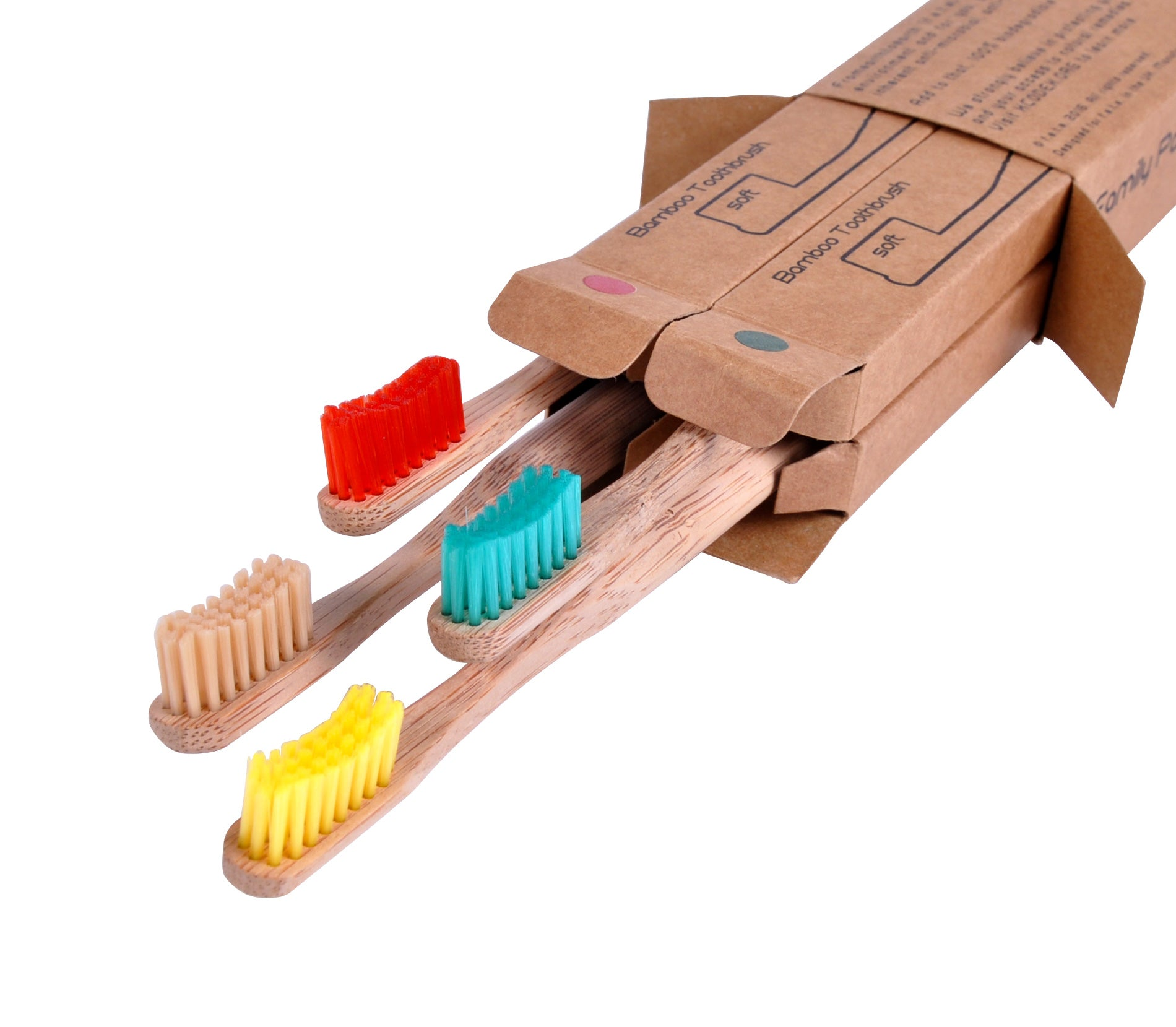 Bamboo Toothbrushes - Soft Bristles - Pack of 4