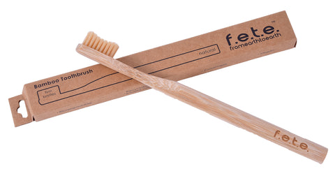 Bamboo toothbrush with firm bristles - natural