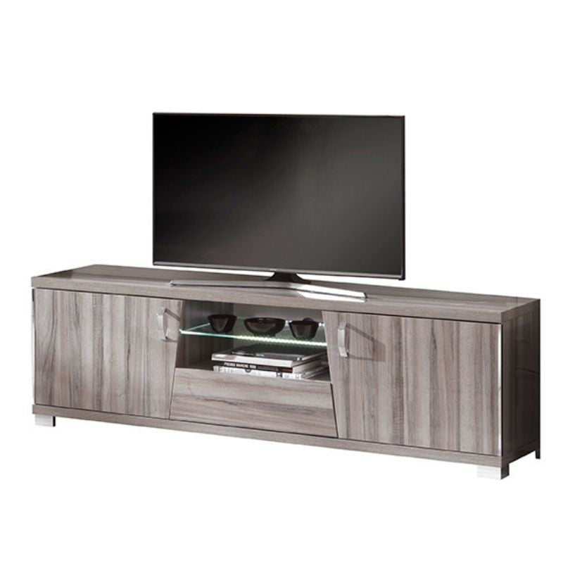 Glamour Walnut High Gloss TV Unit with LED Lights