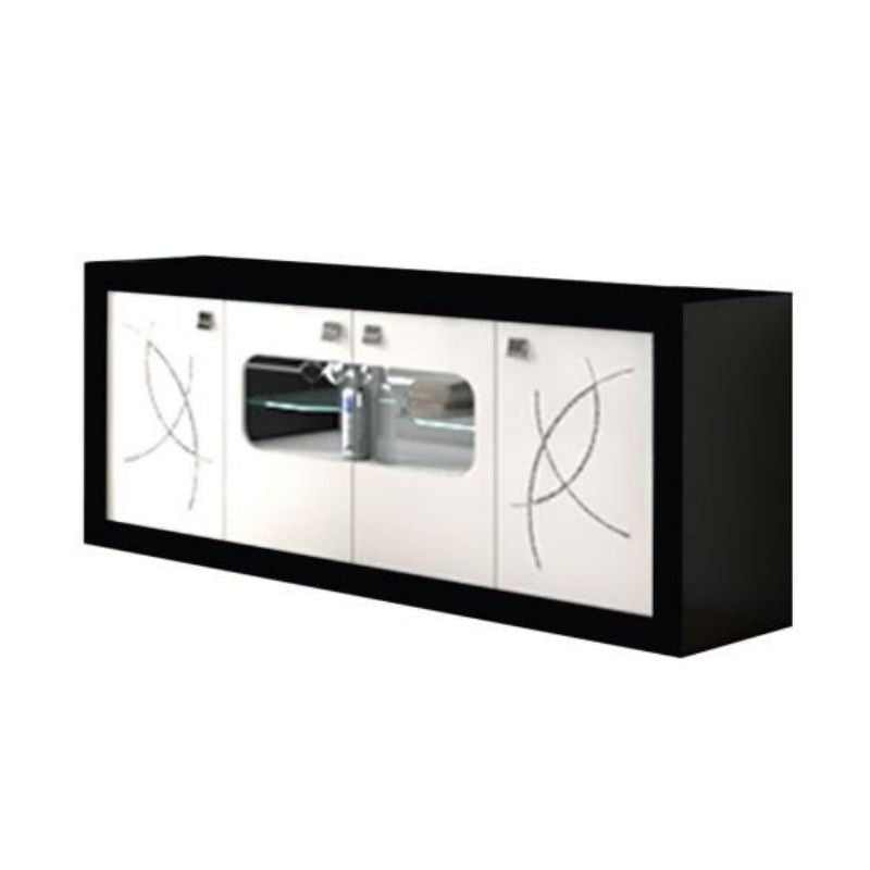 Bellevue Black and White 4 Door Sideboard with LED Lighting