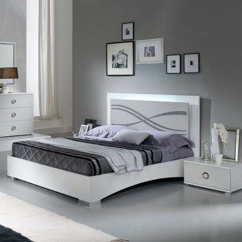 Micol white High Gloss Bed Frame