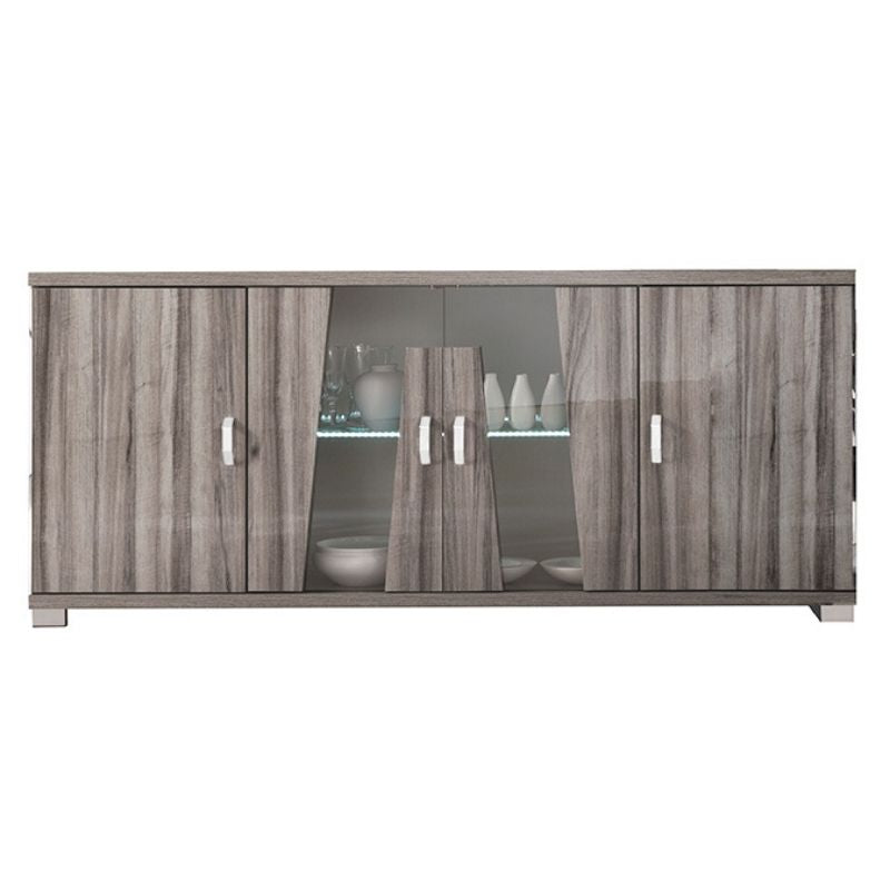 Glamour Walnut High Gloss 4 Door Sideboard with LED Light