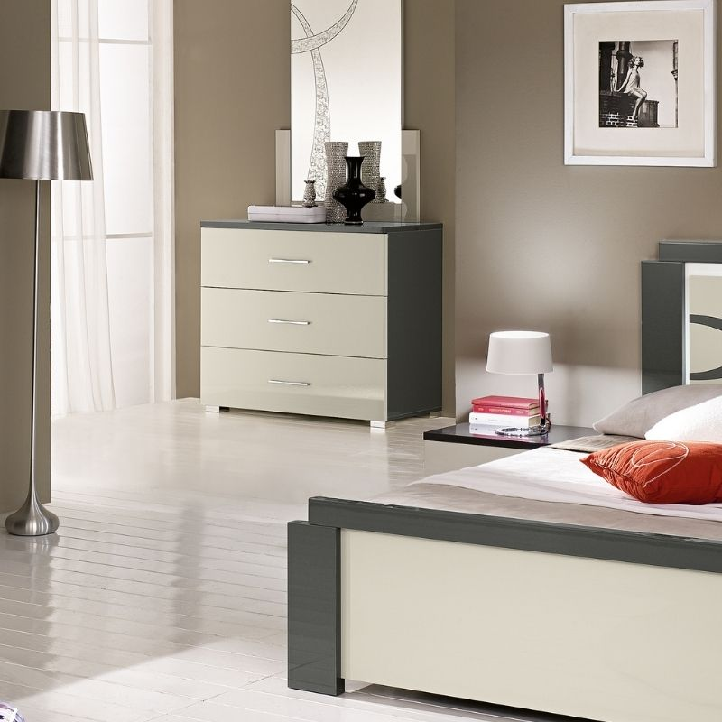 Mircol White & Grey  High Gloss 3 Drawer Dresser