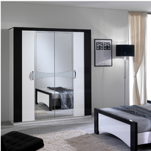 Load image into Gallery viewer, Jessica white & Black 4 Door Wardrobe